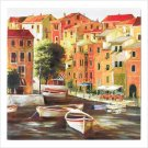 European Canal Canvas Painting