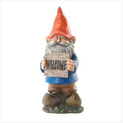 """""""Welcome"""" Standing Gnome"""