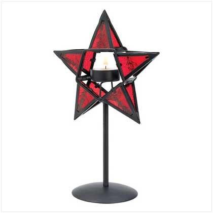 Ruby Star Candleholder