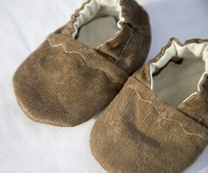 Brown Corduroy Baby Booties with ORGANIC Linen Interiors