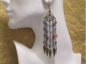 SHOULDER DUSTER EARRINGS W/ MULTI-COLORED BEADS