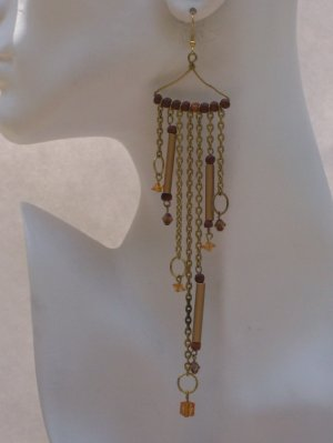 !!!LONG!!! HANDMADE INDIAN SHOULDER DUSTER EARRINGS