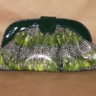 GREEN PEACOCK PRINT HANDBAG W/ SHOULDER STRAP