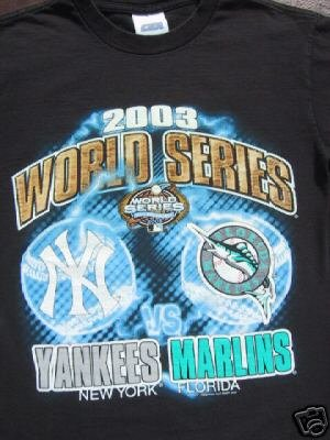 2003 World Series YANKEES v MARLINS youth 10-12 T-SHIRT