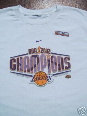 LOS ANGELES LAKERS nike 2002 champs YOUTH 12-14 T-SHIRT