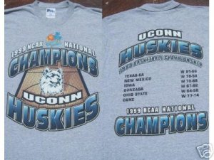 UCONN HUSKIES 1999 NCAA b-ball champs YOUTH XL T-SHIRT