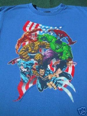 MARVEL COMICS superheros YOUTH 12-14 T-SHIRT hulk THING
