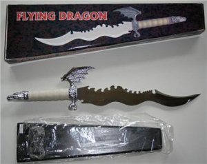 """22"""" Flying Dragon Fantasy Knife with display stand"""