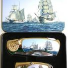 (2) Sailing Ships Folding Knives With Display Box
