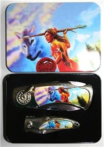 Reproduction (2) Indian & Wolf Folding Knives w/Case