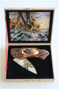 New! - Winter Deer & Pheasant Folding Knife With Box