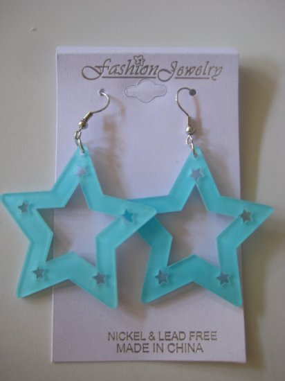 Star Studded Earrings Aqua Blue