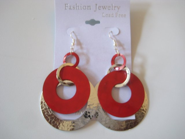 Circles Silvertone & Red Earrings