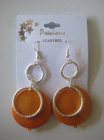 Rhinestone & Circles Silvertone/Pearl Orange