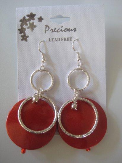 Rhinestone & Circles Silvertone/Pearl Red
