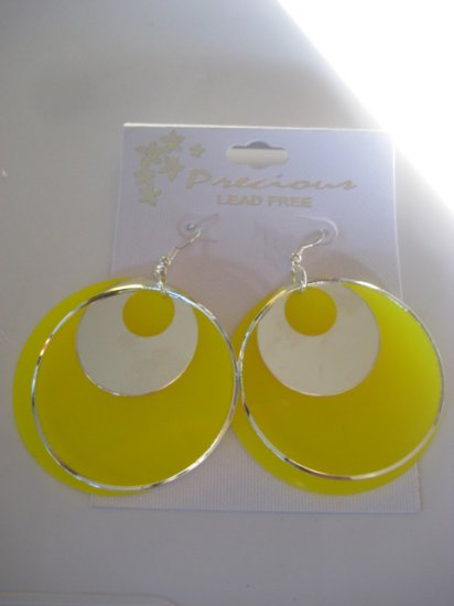 Yellow & Silvertone Disk Earrings