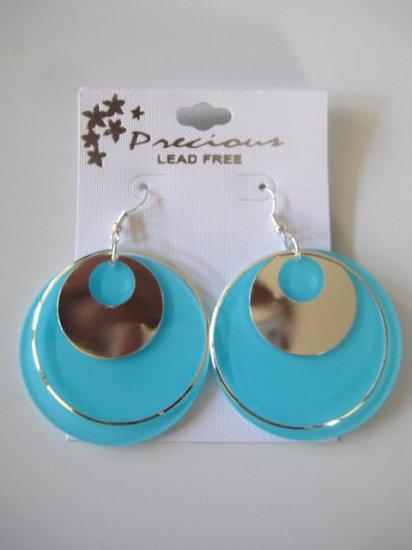 Aqua Blue & Silvertone Disk Earrings