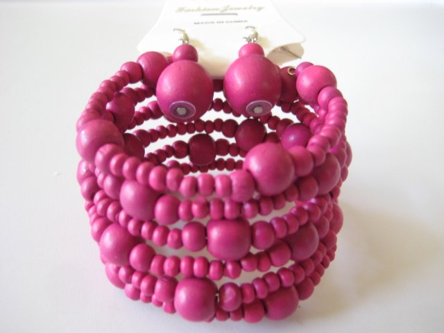 Pink Spiral Stretchable Bracelet & Earring Set