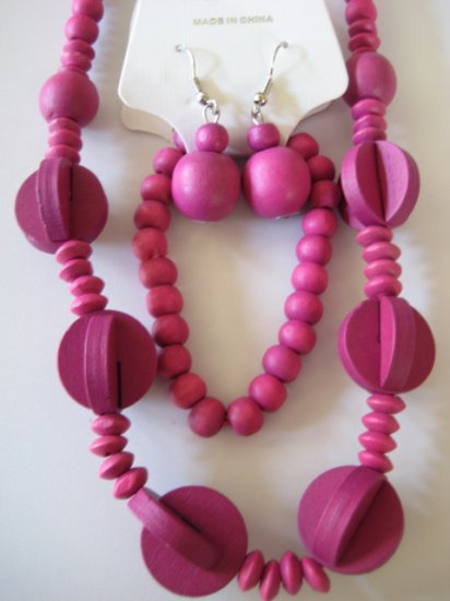Pink Art deco Style Necklace & Earring Set
