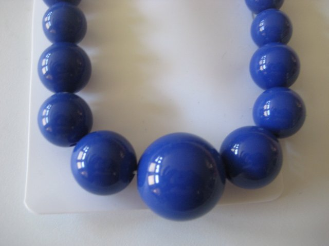 Blue Graduating Bead Necklace & Earring Set