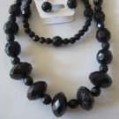 Black Diamond Cut Necklace & Earring Set w/matching Bracelet