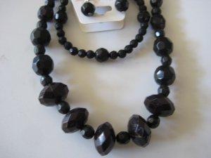 Black Diamond Cut Necklace & Earring Set w/matching Bracelet