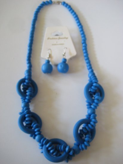 Electric Blue Intertwining Bead Necklace & Earring Set