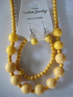 Yellow Round Beaded Necklace & Earring Set w/matching Bracelet