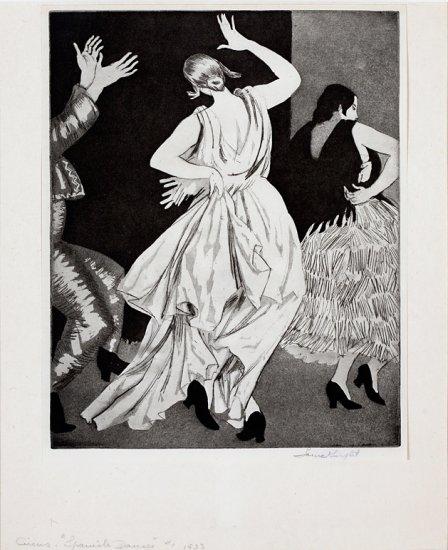 Circus, Spanish Dancer #1, from the series Circus Prints, by Dame Laura Knight (British 1877-1970)