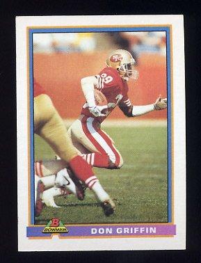 1991 Bowman Football #469 Don Griffin - San Francisco 49ers