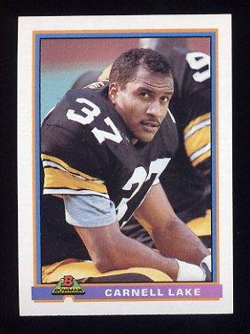 1991 Bowman Football #445 Carnell Lake - Pittsburgh Steelers