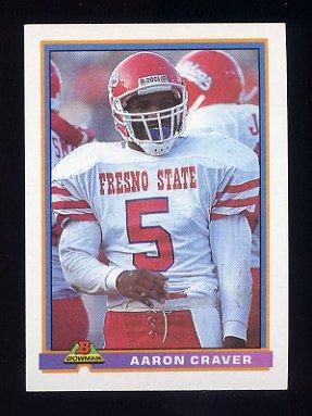 1991 Bowman Football #302 Aaron Craver RC - Miami Dolphins