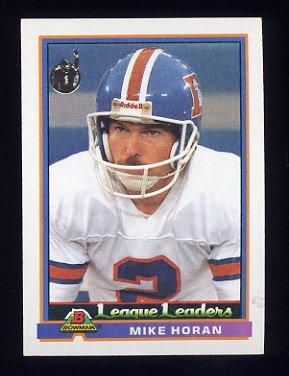 1991 Bowman Football #282 Mike Horan LL - Denver Broncos