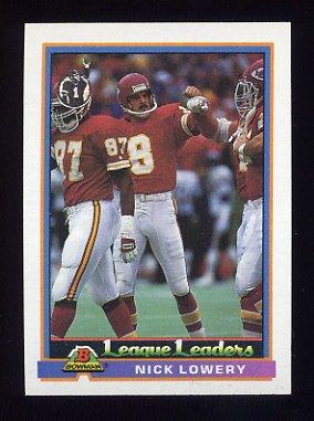 1991 Bowman Football #279 Nick Lowery LL - Kansas City Chiefs