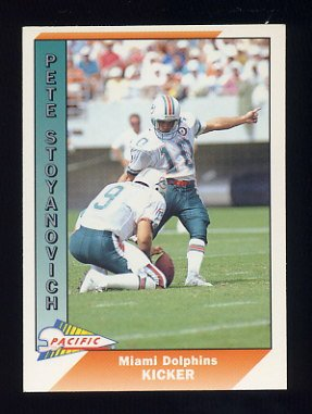 1991 Pacific Football #277 Pete Stoyanovich - Miami Dolphins