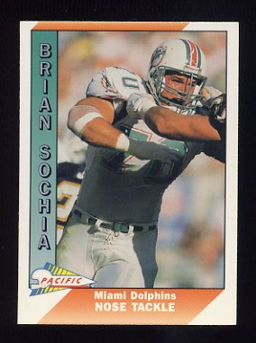 1991 Pacific Football #276 Brian Sochia - Miami Dolphins