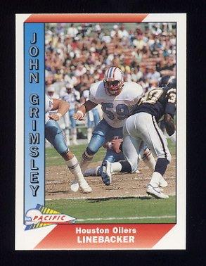 1991 Pacific Football #186B John Grimsley - Houston Oilers