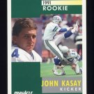 1991 Pinnacle Football #311 John Kasay RC - Seattle Seahawks