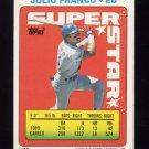 1990 Topps Sticker Backs Baseball #37 Julio Franco - Texas Rangers