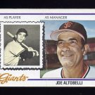 1978 Topps Baseball #256 Joe Altobelli MG - San Francisco Giants
