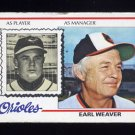 1978 Topps Baseball #211 Earl Weaver MG - Baltimore Orioles