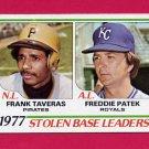 1978 Topps Baseball #204 Stolen Base Leaders Frank Taveras / Freddie Patek