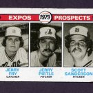 1979 Topps Baseball #720 Jerry Fry RC / Jerry Pirtle RC / Scott Sanderson RC - Montreal Expos