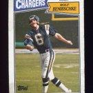 1987 Topps Football #345 Rolf Benirschke - San Diego Chargers