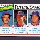 1980 Topps Baseball #673 Brian Allard / Jerry Don Gleaton / Greg Mahlberg - Texas Rangers