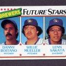 1980 Topps Baseball #668 Danny Boitano / Willie Mueller / Lenn Sakata - Milwaukee Brewers