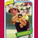 1980 Topps Baseball #598 Fred Kendall - San Diego Padres