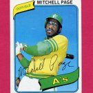 1980 Topps Baseball #586 Mitchell Page - Oakland A's Vg