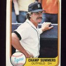 1981 Fleer Baseball #466 Champ Summers - Detroit Tigers