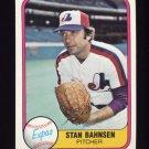 1981 Fleer Baseball #156 Stan Bahnsen - Montreal Expos